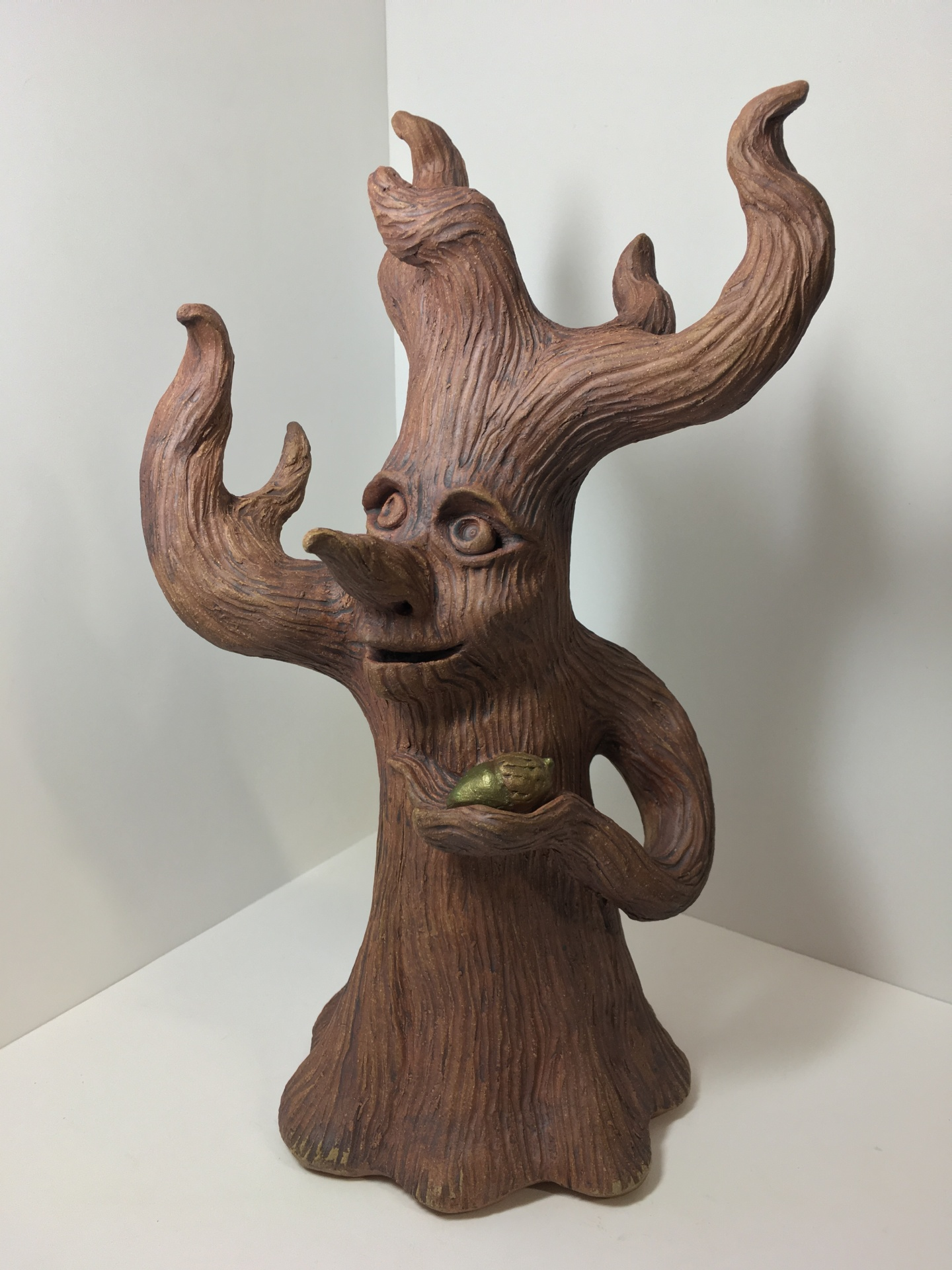tree spirit, druid sculpture, tree lord, tree sculpture, handmade pottery, by cindi hardwicke