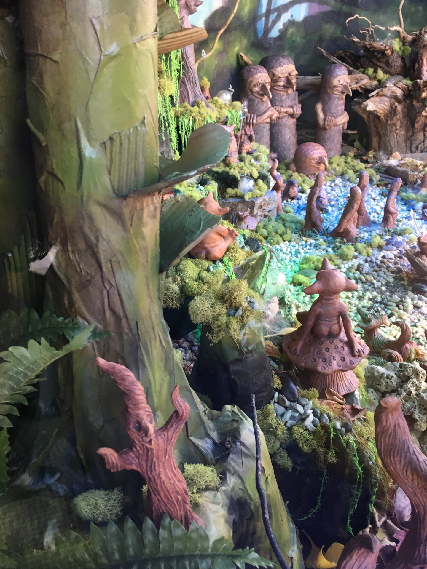 Mystic Realm, Art Installation, Metropolis Collective, Cindi Hardwicke, Zack Rudy,Clay Creatures for Sale, handmade pottery, clay animals for sale, fantasy sculpture, clay sculpture, dragon sculpture, elf sculpture, gnome sculpture, unique pottery, one-of-a-kind pottery, magical diorama, fantasy diorama, fantasy window display,